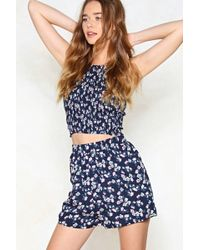 Nasty Gal | Full Bloom Crop Top And Shorts Set | Lyst