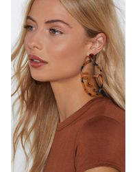 Nasty Gal - In Your Face Tortoiseshell Earrings - Lyst