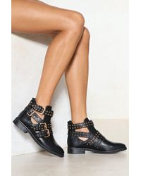 Nasty Gal | Cut It Out Studded Boot | Lyst