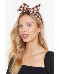 Nasty Gal - Take A Bow Gingham Headband - Lyst