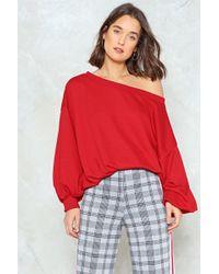 Nasty Gal - Off Shoulder Oversized Sweatshirt - Lyst