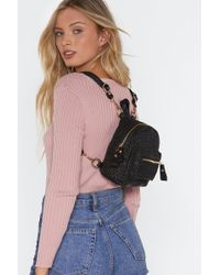 """Nasty Gal - """"want Can't Help Falling In Woven Backpack"""" - Lyst"""