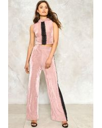 Nasty Gal - Natalie Ribbed Top And Trousers Set - Lyst