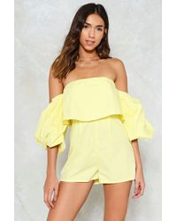 Nasty Gal | Ray Of Sunshine Off-the-shoulder Romper | Lyst