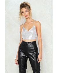 Nasty Gal - Cowl Time Flies Chainmail Crop Top - Lyst