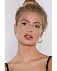Nasty Gal - Hoop It Up Engraved Ear Cuff And Earring Set - Lyst