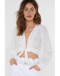 Nasty Gal - What She Thread Broderie Anglaise Tie Top - Lyst