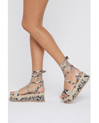 Nasty Gal - Tied And Tested Snake Wrap Sandals - Lyst