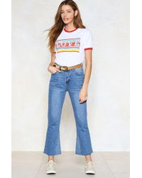 Nasty Gal - We See You Flare-ing Crop Jeans - Lyst