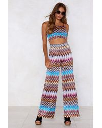 Nasty Gal - Heading In Our Direction Chevron Crop Top And Trousers Set - Lyst
