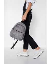 Nasty Gal - Grey Cord Detail Back Pack - Lyst
