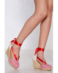 Nasty Gal - In The Park Gingham Espadrille Wedge - Lyst