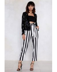 Nasty Gal - Strong Silent Stripe Paperbag Pants - Lyst