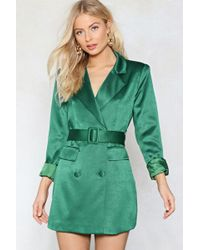 Nasty Gal - Taking Care Of Business Satin Dress - Lyst