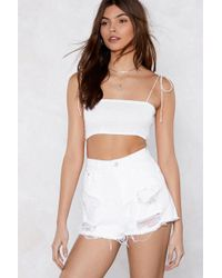 Nasty Gal - I Got Trouble Distressed Denim Shorts - Lyst