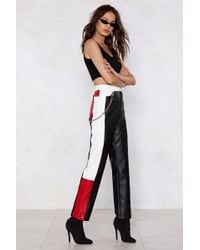 Nasty Gal - Block Off Faux Leather Pants - Lyst