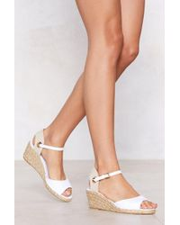 Nasty Gal - It's Up To You Broderie Anglaise Wedge Sandal - Lyst