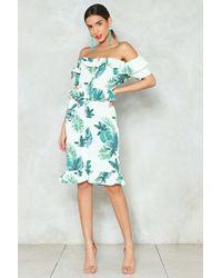Nasty Gal - Palm Print Off Shoulder Dress Palm Print Off Shoulder Dress - Lyst