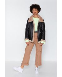 Nasty Gal - That's Why They Call It The Blues Faux Fur Aviator Coat - Lyst