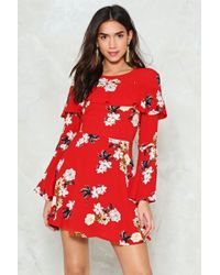 Nasty Gal - Red Ruffle Front Skater Dress Red Ruffle Front Skater Dress - Lyst