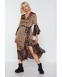 84635adbfb126 Nasty Gal - I Believe Satin You Print Midi Dress - Lyst