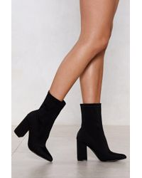 Nasty Gal - Sock It To Me Heeled Boot - Lyst