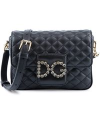 478d11790635 Dolce   Gabbana - Millennials Black Quilted Leather Shoulder Bag - Lyst