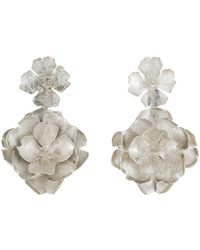 Natori - Josie Silver Plated Brass Peony Earrings - Lyst