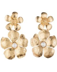 Natori - Josie Gold Brass Double Peony Earrings With Pearl - Lyst