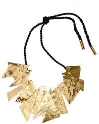 Natori - Josie Hammered Brass Buffed Geometric Necklace - Lyst