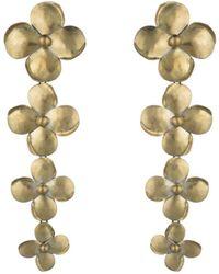 Natori - Josie Brass Flower Long Earrings - Lyst