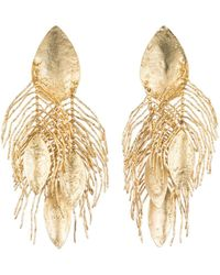 Natori - Josie 24k Gold Plated Brass Peacock Feather Earrings - Lyst