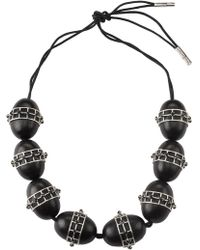 Natori - Josie Acacia Wood With Silver Round Cage Necklace - Lyst