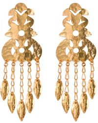Natori - Hammered Gold Crown Earrings - Lyst