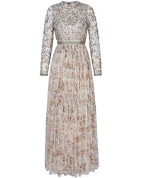 Needle & Thread Andromeda Garland Long Sleeve Gown - White