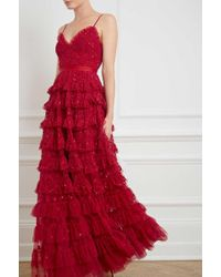 Needle & Thread - Marie Tiered Embellished Tulle Gown - Lyst