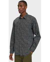 Engineered Garments - Short Collar Shirt In Black Floral - Lyst