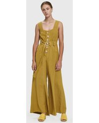 Farrow - Willy Buttoned Linen Jumpsuit - Lyst