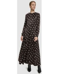 Ganni - Camaron Satin Maxi Dress - Lyst