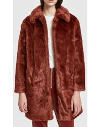 FRAME - Faux Fur Coat In Spice - Lyst