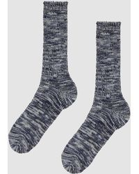 Anonymous Ism - 5 Color Mix Crew Sock In Navy/white - Lyst