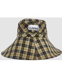 Ganni - Seersucker Check Hat - Lyst