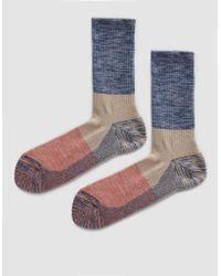 Anonymous Ism - Melange Mix Pile Three Quarter Sock In Indigo - Lyst