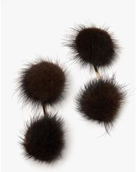 Tuleste - Mink Double Pom Pom Earrings In Brown - Lyst