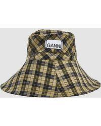 3300e0b26428c Ganni - Seersucker Check Hat - Lyst