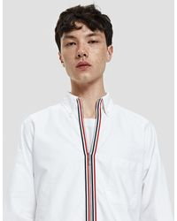 Thom Browne - Zip Front Classic Long Sleeve Point Collar Shirt - Lyst