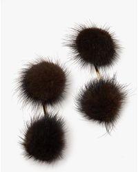 Tuleste - Mink Double Pom Pom Earrings - Lyst