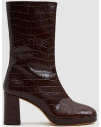 3b0076911e0f Lyst - Finery London Emilia Tan Leather Croc-effect Ankle Boot in Brown