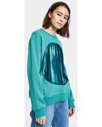Correll Correll - Duo Velvet Circle Sweatshirt In Turquoise - Lyst