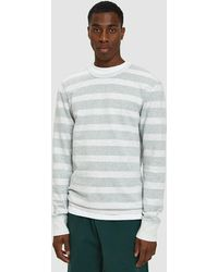 Reigning Champ - Striped Terry Crewneck In Heather Ash/court Green - Lyst